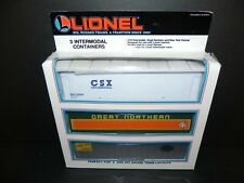 LIONEL 12826 INTERMODAL CONTAINERS 1993 - CSX, NYC, GREAT NORTHERN ~ Free Ship!