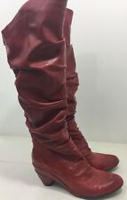 Miz Mooz Charley Red Boot Over Knee Genuine Leather Shoe Size 10 US 41 EURO