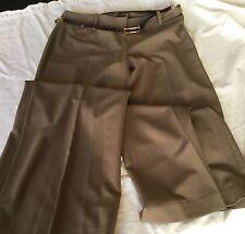 NWT TAHARI Clinton Straight Wide Leg PANTS Women's SZ 6 Pebble Color Skinny Belt