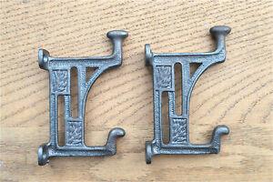 Pair Arts & Crafts Mackintosh Glasgow coathooks cast iron coat hook door hanger