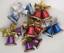 Christmas Double Bell Ornaments w/ Garland and Ribbon Set of 6 Blue, Red, Purple