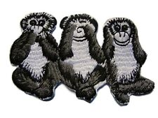 Grey Hear See Say No Evil Monkey Iron On Patch