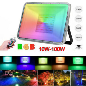 10W-100W RGB LED Fluter Außen Strahler Flutlicht Scheinwerfer Garten Lampe HP