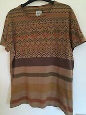 MENS ASOS Orange Brown Aztec Patterned T-Shirt, Size M