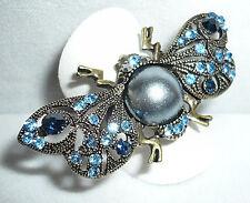 Gran mariposa motivo anillo, el tíbet plata, pedrería, azul, f. todos los tamaños, nuevo