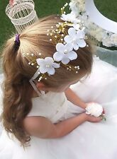 Flower Girl Bridesmaid Holy Communion White Hair Accessory Headband Pearls