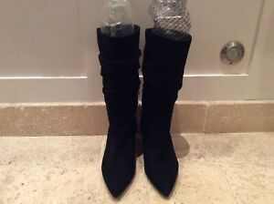 PEDRO MURAL BLACK RUCHED SUEDE ANKLE BOOTS UK4/37