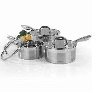 Salter BW06734 Timeless Collection 3 Piece Saucepan Set, Stainless Steel
