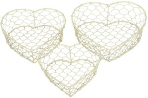 Cream Heart Wire Baskets SET OF 3 Metal Mesh Wedding Easter Baskets Shabby Chic