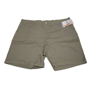 """Lee Riders Womens Mid Rise GREEN OLIVE Shorts Size 20M 8.5"""" Inseam"""