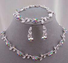 Necklace Bracelet Earring Set Silver Multi Rhinestone Flowers Fashion Jewelry