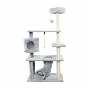 55'' Cat Tree Multi-Level Pet Furniture Kitten House Condo Scratching Post, Grey