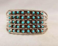 Zuni Turquoise Bracelet - Snake Eye Sterling Silver Cuff by Susie Livingston 6.5