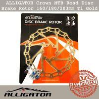 Alligator Crown Disc Brake Rotor 160mm/180mm/203mm MTB Road Bike Ti-Gold Color