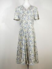 Vintage Laura Ashley Floral Midi Dress Sz 12 Blue Silk Feminine 90s Empire Tag