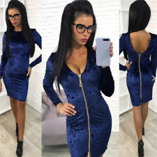 Fashion Women Velvet Backless Long Sleeve Elegant Bodycon Stretch Slim Dress
