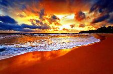 Incorniciato stampa-incredibile Tramonto sull' OCEANO MEDITERRANEO (PICTURE BEACH)