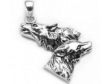Wolf Pair Pendant in Sterling Silver by Peter Stone Approx 3cm base to ring