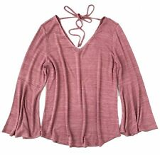 LOFT - Womens XXL Petite  - NWT - Pink Space-Dye Bell Sleeve V-Neck Sweater Tee