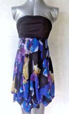 Fever Strapless Mini Dress, Adjustable Gathered Hem, Black, Blue, Purple Size 12