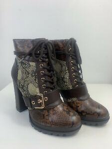 JustFab Ladies Snake Print Hiker Buckle Up Ankle Boots Winter Lace Up UK Size 6