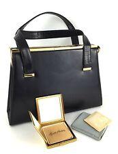 Vtg 60s MCM Elizabeth Arden Black Leather Purse Handbag Compact Coin Mirror Comb
