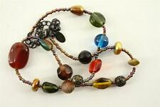 "Modern Costume Jewelry 16"" Brass Stone & Glass Beaded LIA SOPHIA Necklace"