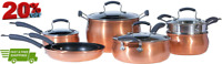 Cookware Collection Dishwasher Safe Oven Safe Nonstick Aluminum 11 Piece Copper