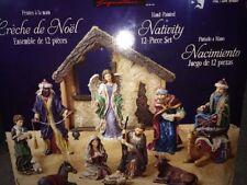 """Rare 12 Figure Kirkland Hand Painted Antique Style """"Creche De Noel"""" Nativity Set"""