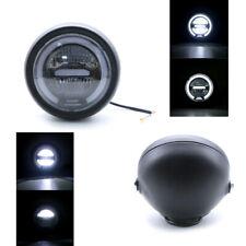 "6.8"" White LED Motorcycle Headlight H+L Beam Angel Eyes Ring Driving Fog Lamp 1x"