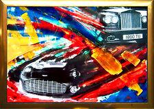 Rolls Royce + ASTON MARTIN auto acrilico collage pezzo unico 70 x 100 cm MAX STELLA * 1968