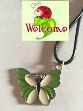 GREEN BUTTERFLY WITH RHINESTONES NECKLACE PENDANT ON BLACK NECKLACE 26W