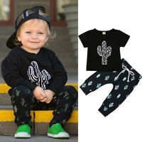 US Toddlers Baby Boys Cactus T-shirt Tops+Kids Pants Outfit Sets Summer Clothes