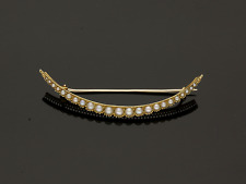 ANTIQUE 15CT GOLD SEED PEARL CRESCENT BROOCH