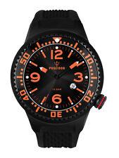 POSEIDON Herren-Armbanduhr XL Slim Silikon UP00389 Schwarz/Orange UVP 139,- €