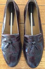 Nordstrom Mens Dress Shoes Loafer Wing Tips Tassel Burgundy Made in Italy 10M