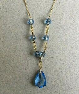 1930s Art Deco Czech faceted light blue glass pendant drop necklace vintage