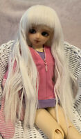 BJD Wig MSD 7-8 1/4 White Long Wavy Curly Bangs Female Girl WIG ONLY NO DOLL