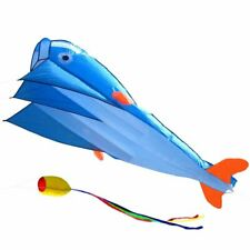 NEW 3D Kite Huge Frameless Soft Parafoil Giant Dolphin Kite Blue Outdoor Sports