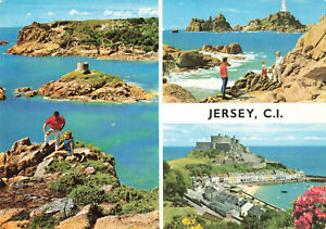 Channel Islands - Jersey, Multiview Vintage Postcard by Hinde 1971.