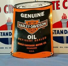 VINTAGE HARLEY DAVIDSON MOTORCYCLE PORCELAIN GAS SERVICE SALES QUART SIGN