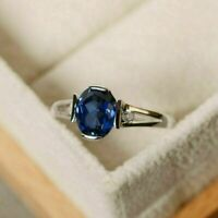 1.50 Ct Oval Cut Blue Sapphire Solitaire Engagement Ring 14K White Gold Finish