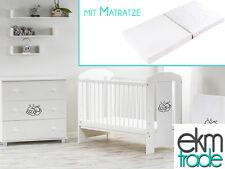 Babybett Kinderbett 120x60 Holz Gitterbett mit Matratze GRATIS weiß ekmTRADE