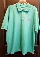 Men's Tommy Bahama Polo Golf Rugby Shirt XL Aqua Short Sleeve Marlin logo