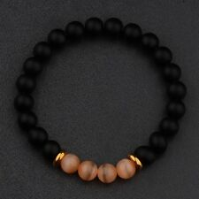Charm 8MM Natural Black Agate Cats Eye Gemstone Bead Man Woman Bracelets