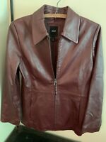 JLC New York Outerwear Women's Genuine Leather Jacket Size Small Color Merlot