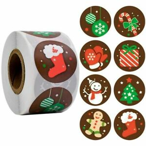 MERRY CHRISTMAS Stickers Labels Decorating Present Seals Xmas Envelope Crafts