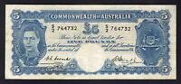 Australia R-47.  (1949) Coombs/Watt - Five Pounds.. Fine+