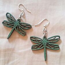 Dragonfly Blossoms Emerald Laser Cut Wood Earrings Green Tree COMBINED SHIPPING