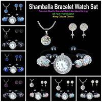 SHAMBALLA 8Pcs Crystal Ball Bracelet Watch + Pendant Necklace + Stud Earring Set